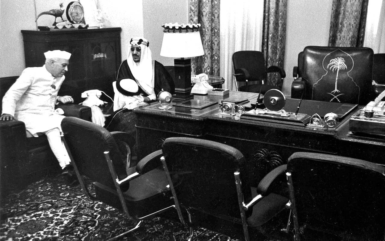 King Saud and IndianPrime Minster Nehru in palace office.