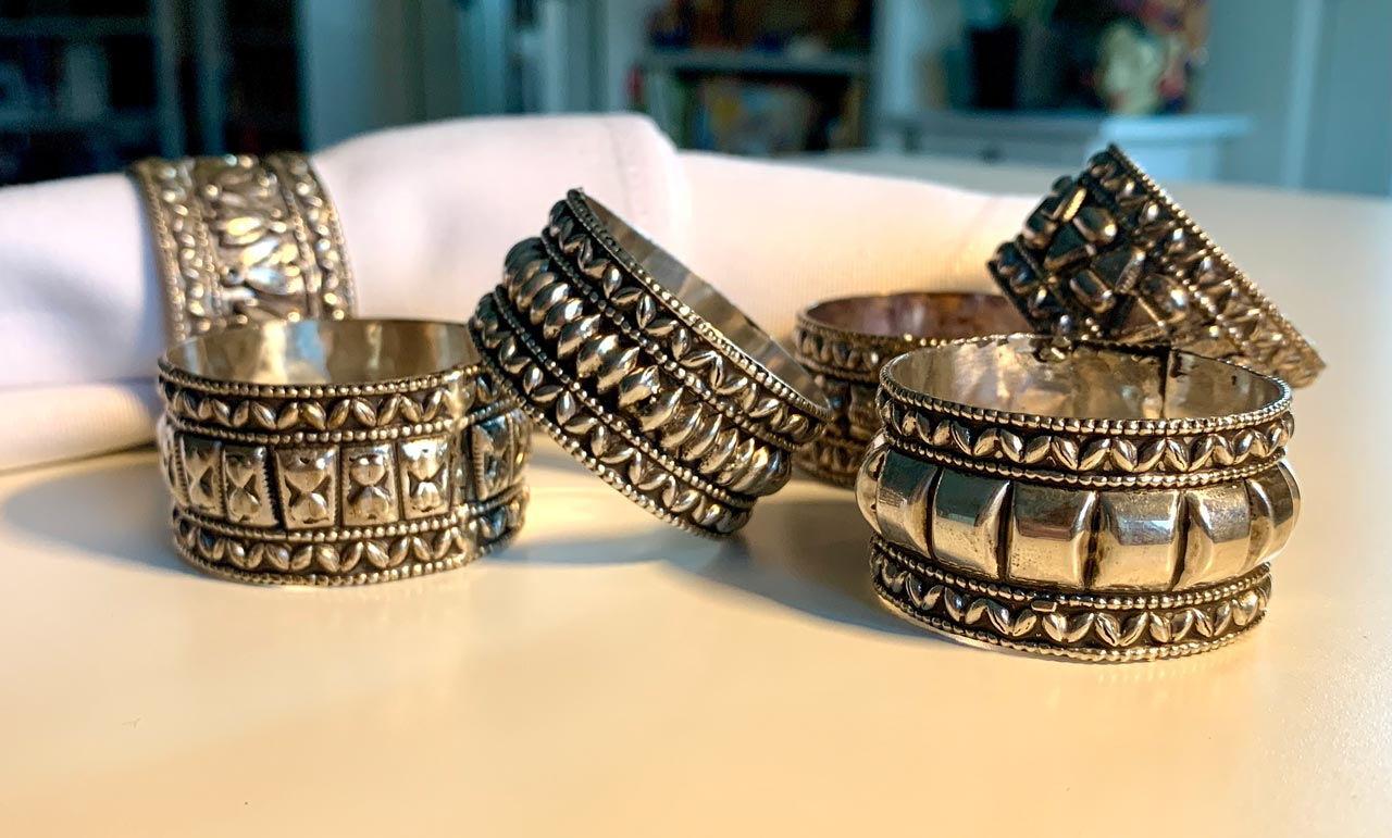 Silver napkin rings represent traditional Bedouin bracelets. © Mark Lowey