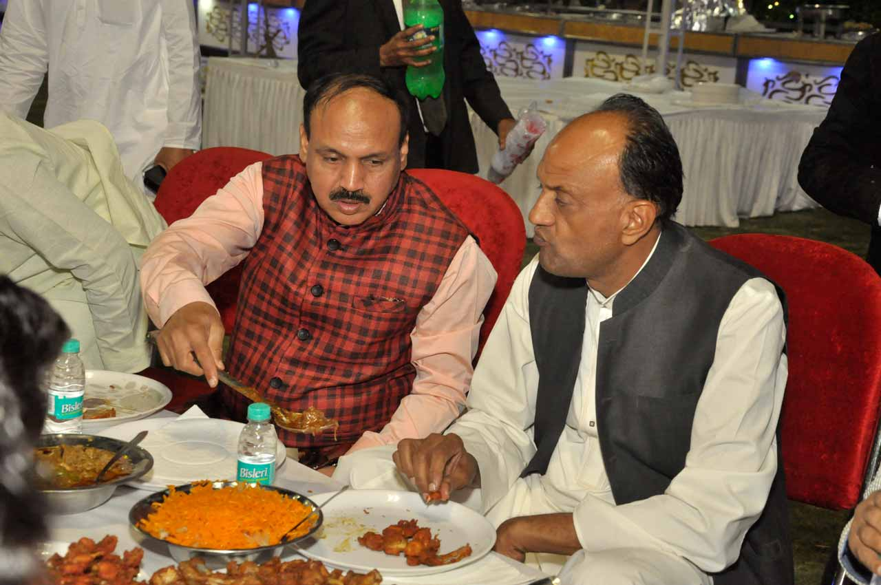 Pervez Halim with his friend Liaquat Ali Alavi at the valima reception