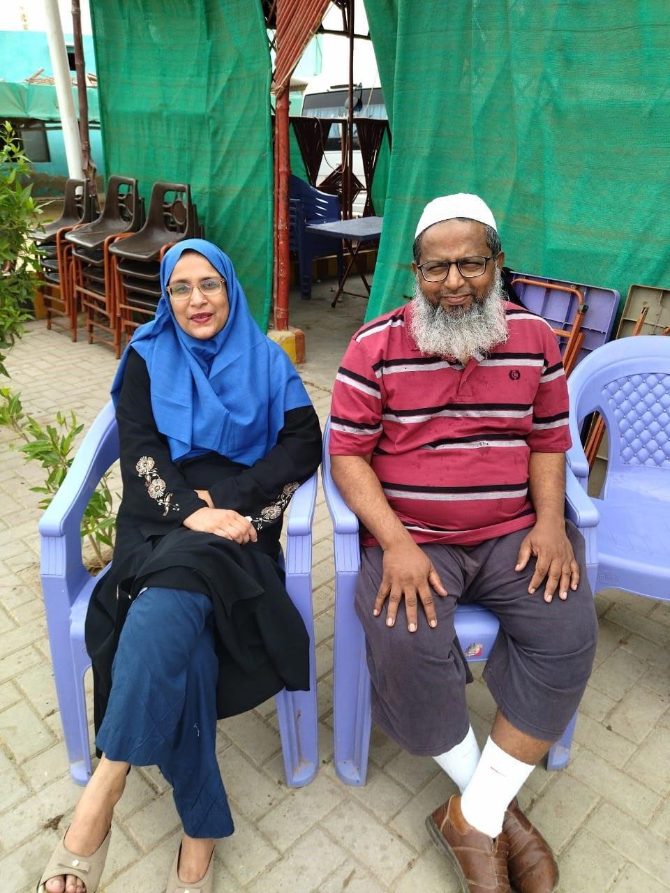 Mr. and Mrs. Abdul Bari at Winder Town Restaurant.