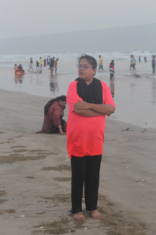 Dr. Kiran Ata Ur Rehman is enjoying the beautiful Ormara Beach shore.
