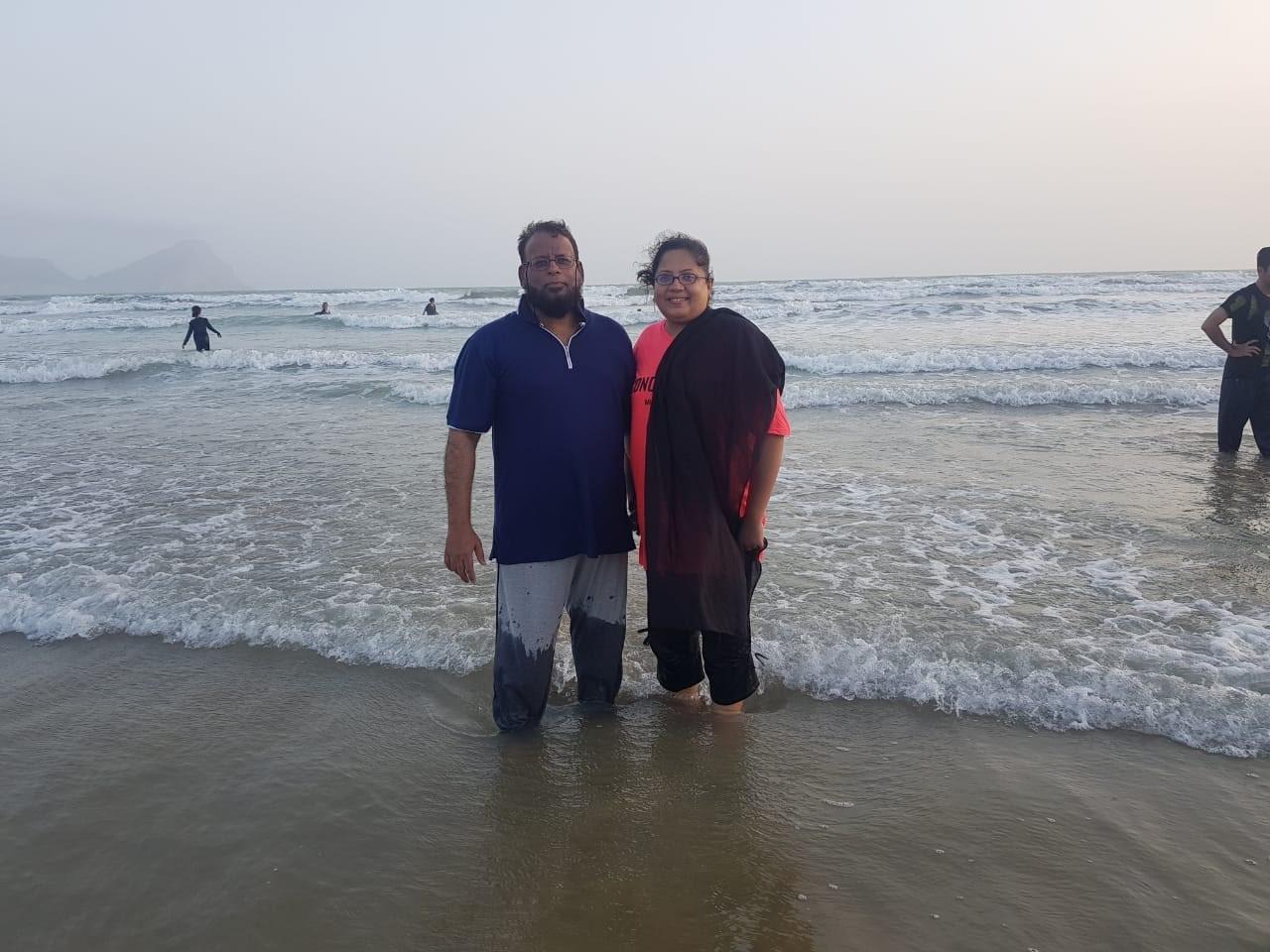 Dr. Ata Ur Rehman and Dr. Kiran Ata Ur Rehman are enjoying the cool water of the Ormara Beach.