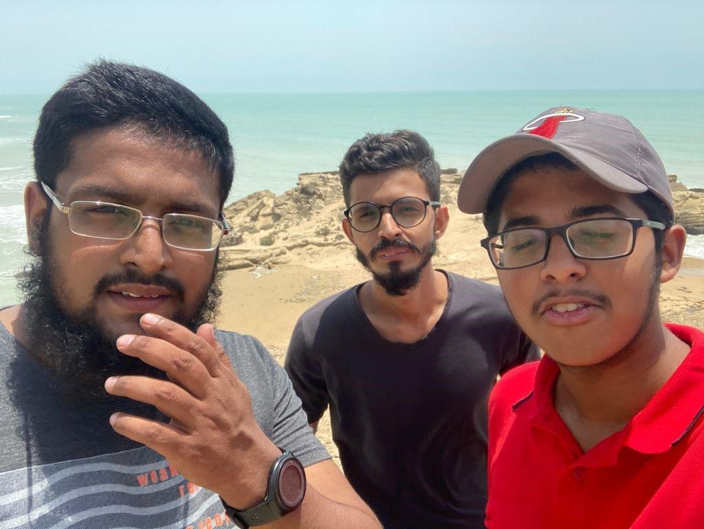 Anus Abdul Bari, Ahmed Khan and Habib Ur Rehman enjoying the view at height on Kund Malir.