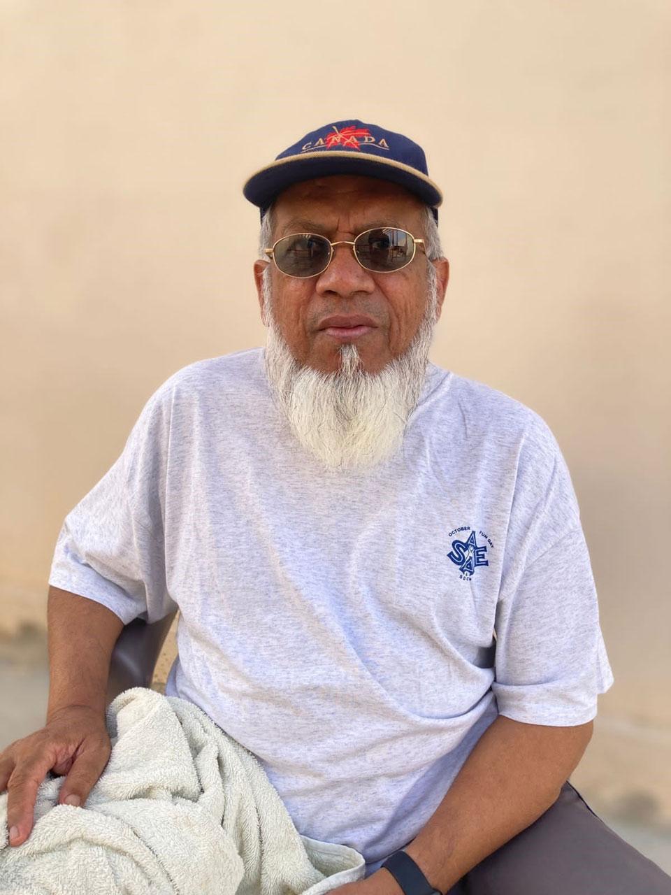 Engr. Iqbal Ahmed Khan at Ormara Resort waiting for his breakfast before leaving the area.
