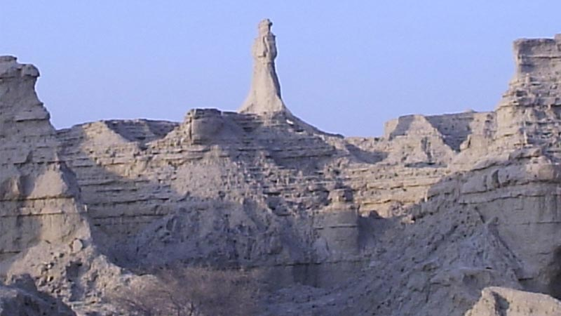 The statue of Princess of Hope is standing alone in the Hingol National Park.