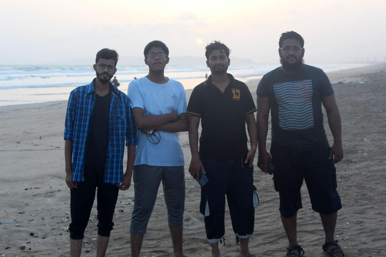 Ahmed Khan, Habib Ur Rehman, Usama ul Haque and Anus Abdul Bari enjoying at Ormara Beach.