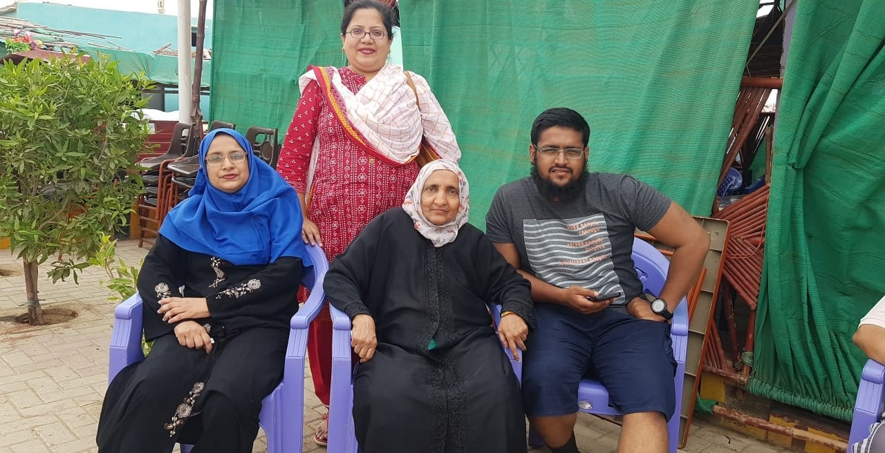 Mrs. Afifa Bari, her mother, Anus Abdul Bari and Dr. Kiran A. Rehman in the back at Winder Restaurant after the breakfast on their way to Ormara Beach.