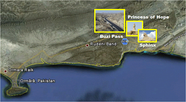 A plan view of Princess of Hope, Buzi Pass, Sphinx of Baluchistan at Hingol National Park.