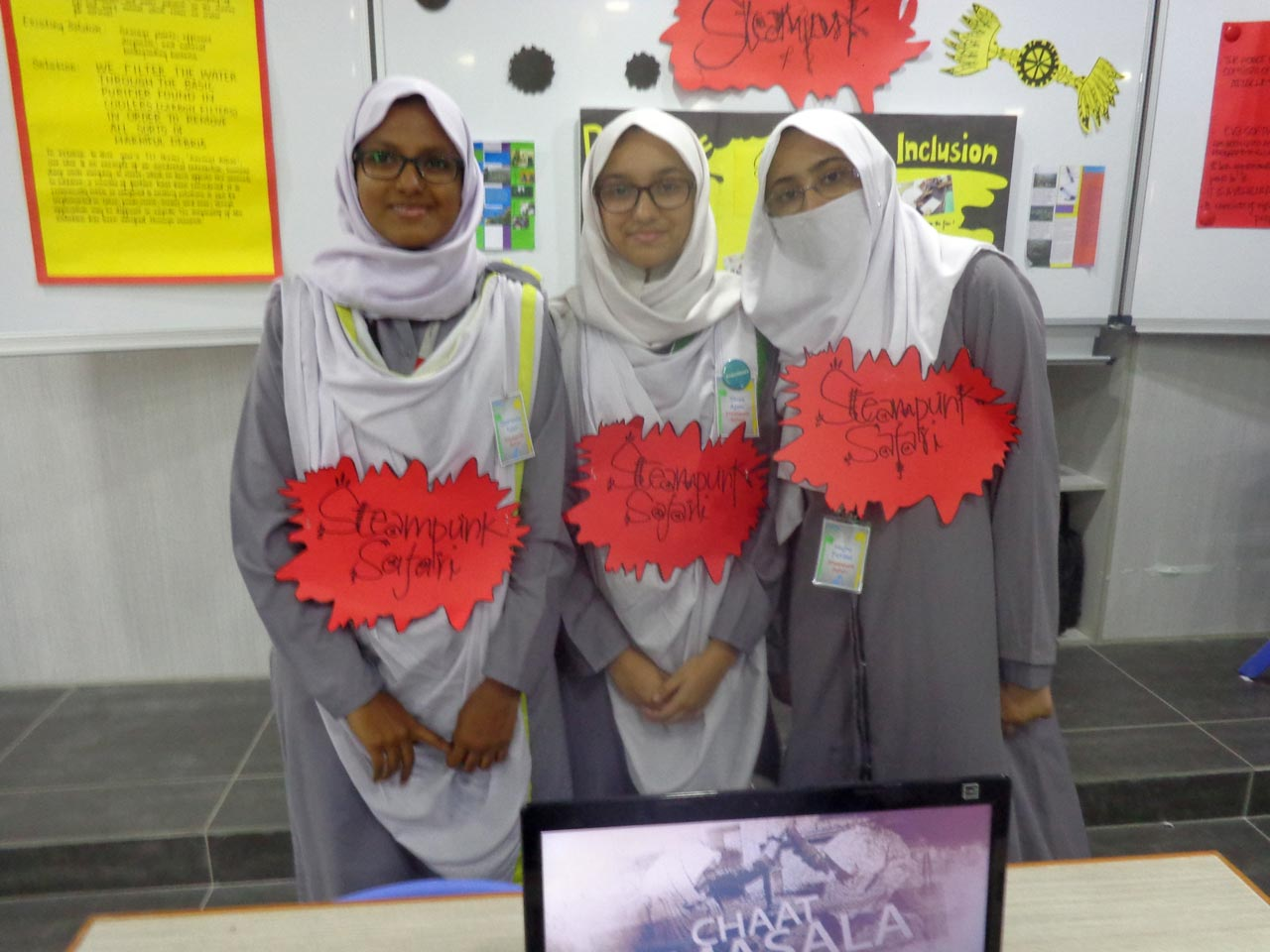 A team of young girls group of Innovation Exhibition