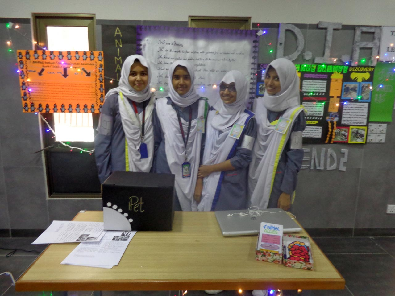 A group of girls participating at the Innovation Exhibition