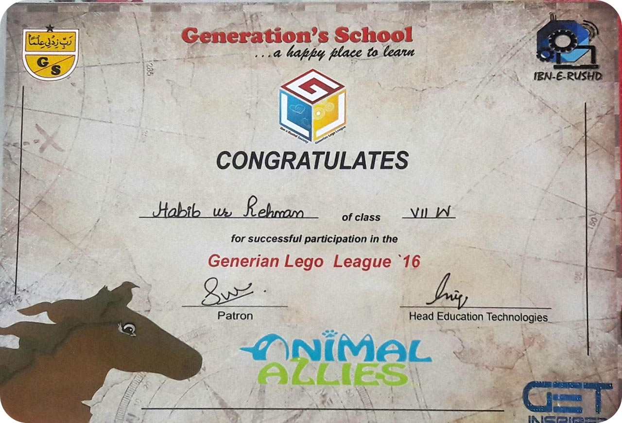 Participation Certificate for Habib Ur Rehman