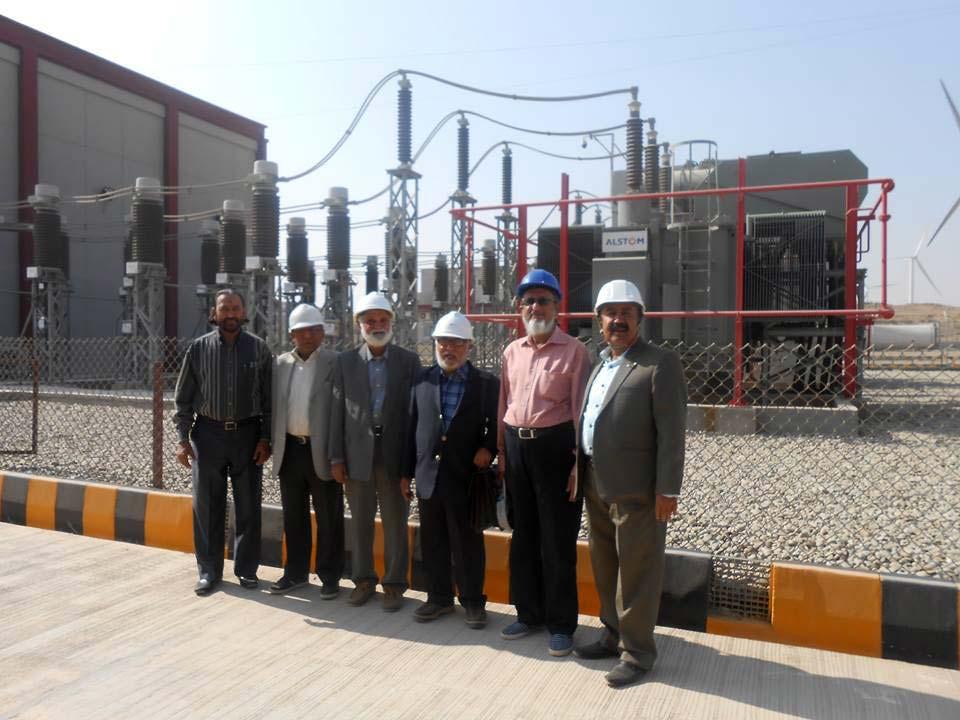 Shareef Khan, Engr. Tauseef Khan, Engr. Yakoob Ibrahim, Engr. Gulzar Memon, Engr. Abid Ali Hirani, Engr. Abdul Aziz Bhutto in front of the grid station of YEL