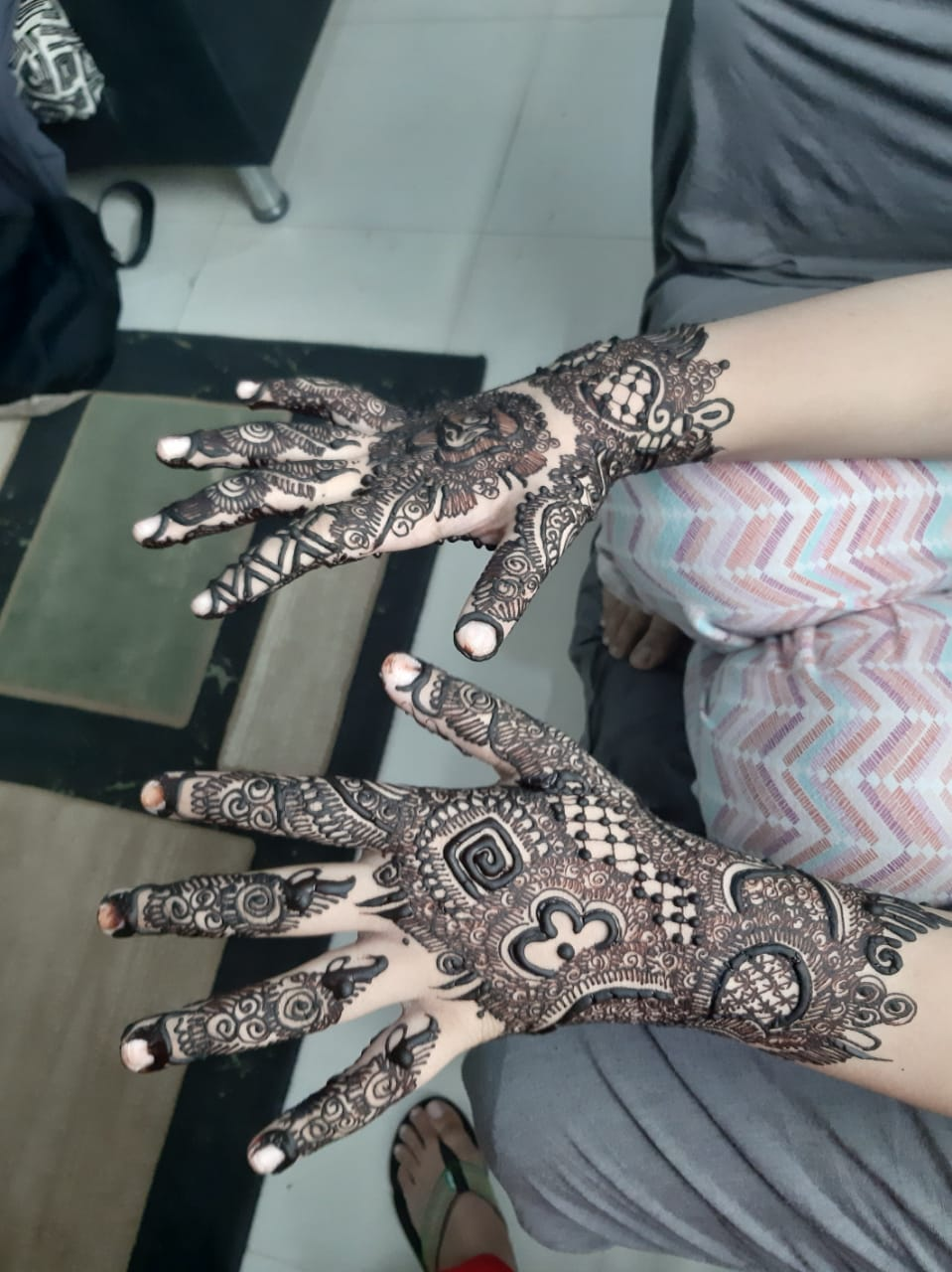A picture of Zoya Imran's both hands all with Henna decoration.