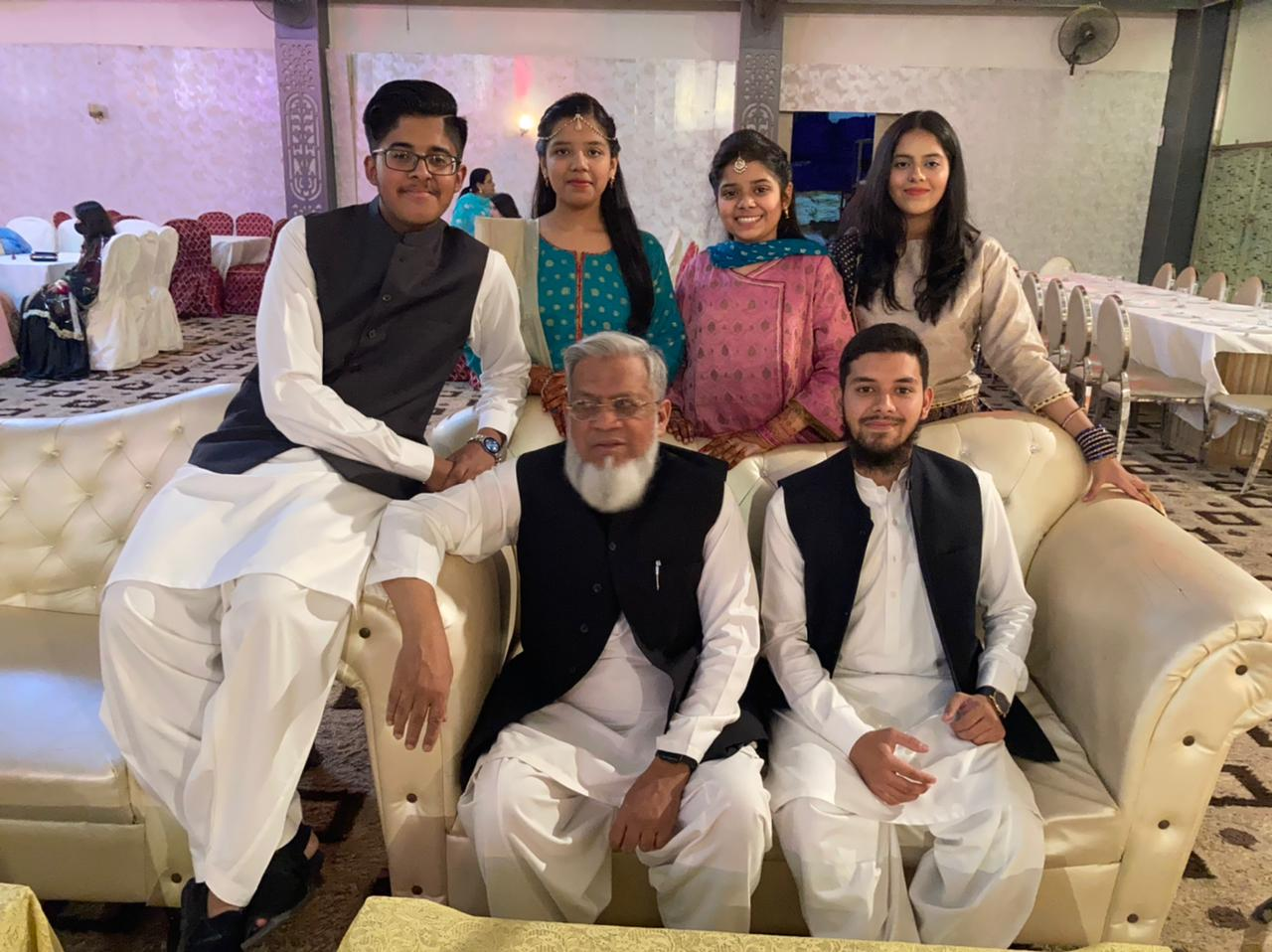 Engr. Iqbal Ahmed Khan with his grandchildren, Habib, Zoya, Zara, Mariam and Obaid