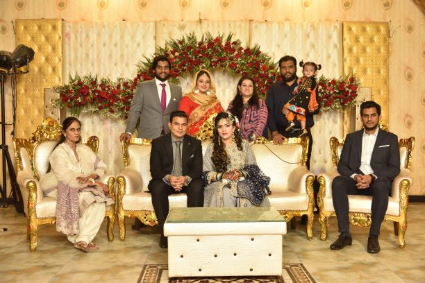 Bushra with her complete family at the Valima reception