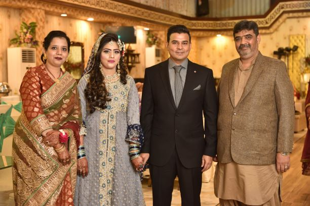 Imran & Erum with the newly wed younger brother Kamran with Bushra at the Valima reception