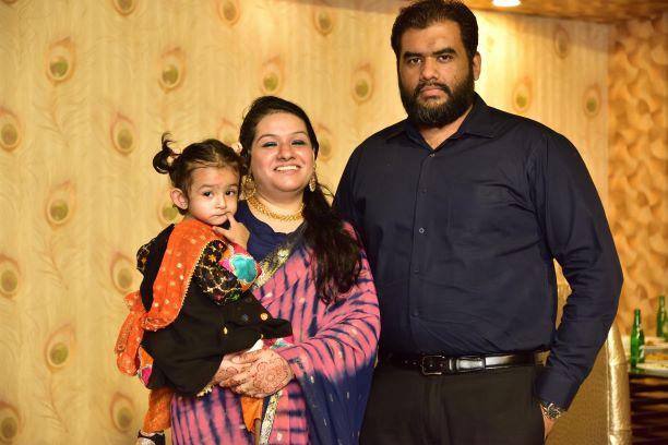 The beautiful couple, Engr. Bilal A. Khan, Faryal Khan and their naughty princess Baby Ayra Khan