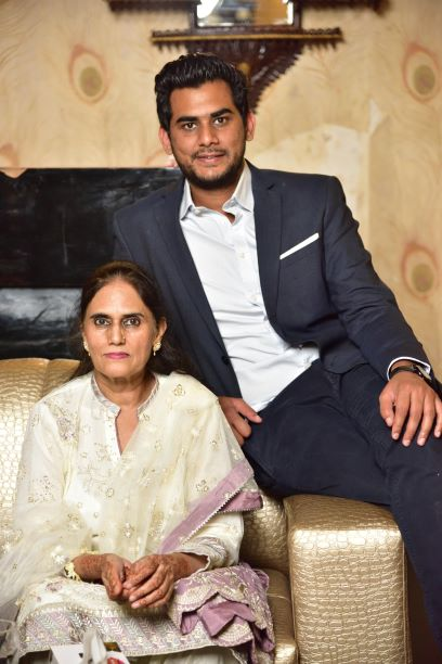 Usama A. Khan with his mother Mrs. Rudaba Irshad at the Valima reception