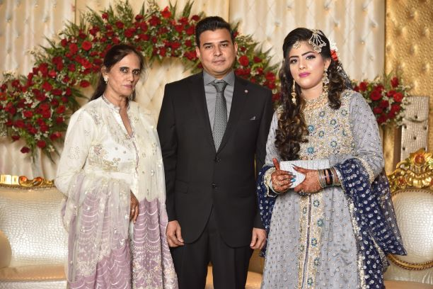 Mrs. Rudaba Irshad with her daughter Bushra and son, in, Law Kamran A. Khan
