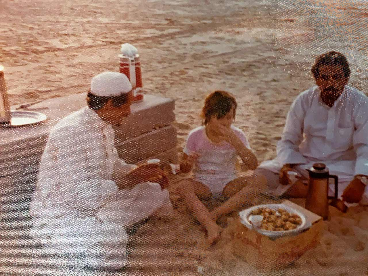My sister Shanna at the beach shortly after we moved to 'Udhailiyah. Shanna never turned down a meal.