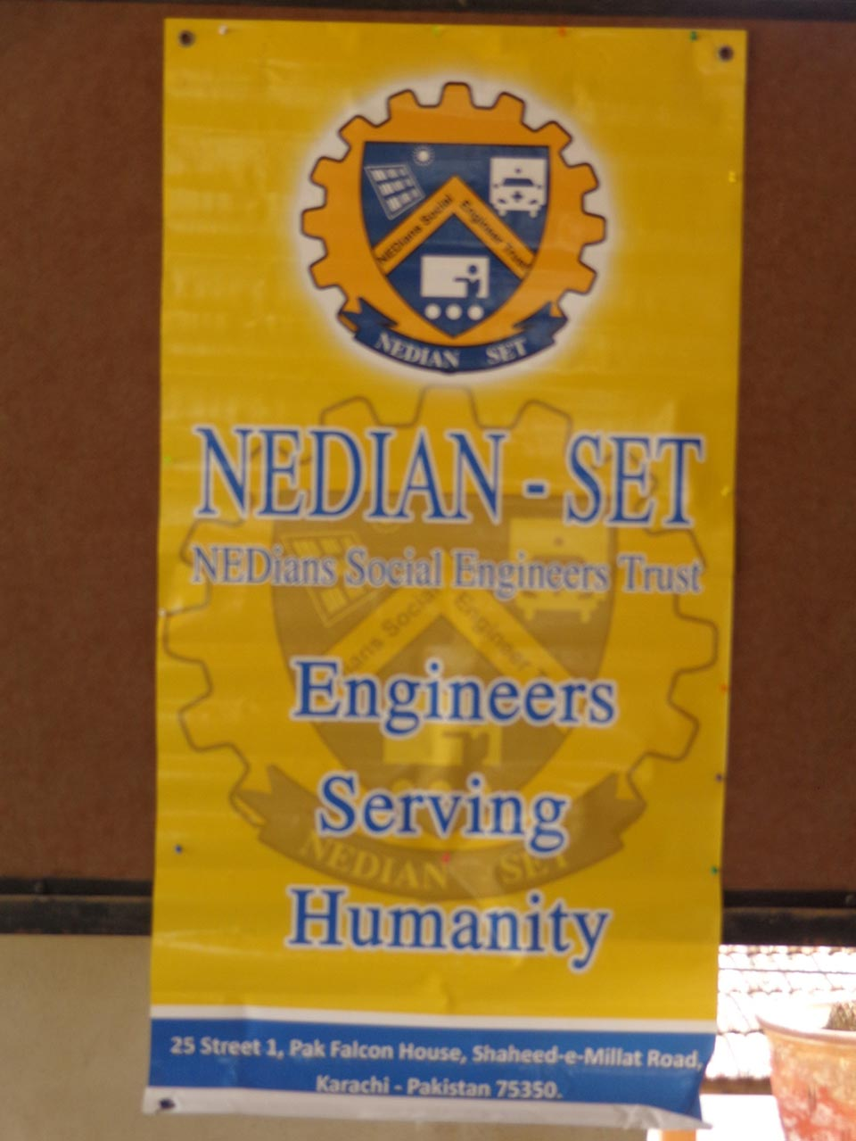 A Banner of NED-SET from earlier presentation at Chahro Tharparkar Sindh