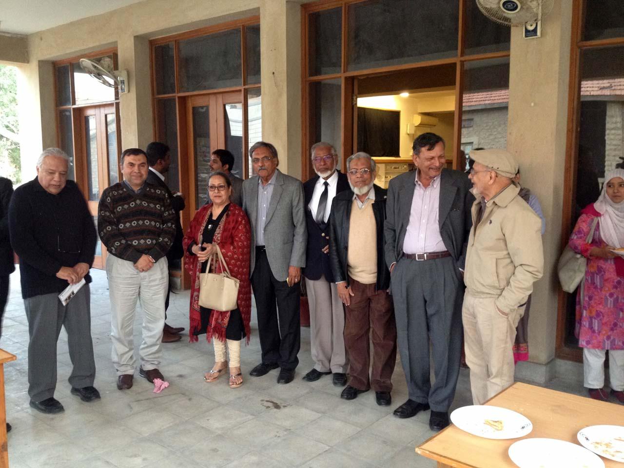 Arif Hasan, Prof. Dr.Noman Ahmad, Mrs. Badar Khan, Engr. Badar Khan, Engr. Col(R) Javed Majid, Engr. Iqbal Ahmed Khan, Engr. Syed Javed Nasir and a guest