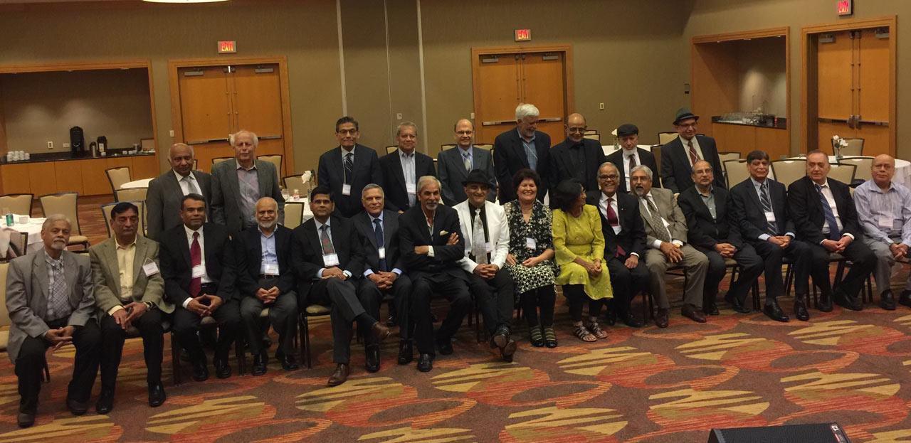 Sitting from Left to Right: Engr. Aftab Ahmad Alavi (Mech), Engr. Col ®Shahid Qureshi (Elec.), Engr. Jawaid Saeedi (Mech), Engr. Shakil Haider (Civil), Engr. Abdul Majid Adam (Mech), Engr. Pervez Randhawa (Civil), Engr. Ashraf Habibullah (Civil), Engr. Naheed Ghazanfar (Civil), Engr. Afroze Fatima (Civil), Engr. Mansoor H. Kureshy (Elec), Engr. Khalid Razaki (Mech), Engr. Hamid Ul Haque (Mech), Engr. Mahmood Manzoor (Mech), Engr. Asif Majeed (Civil), Engr. Abu Qamar (Mech) ---- Standing from Left to Right: Engr. Dr. Iqbal Suharwardy (Civil), Engr. Shahnawaz Ahmad (Civil), Engr. Shamshad Ahmed (Mech), Engr. Tariq Siddiqui, Engr. Kersi P. Edulji (Mech), Engr. Moin Khan (Mech), Engr. Mohammad Wajahat Siddiqui (Mech), Engr. Abu Muzaffar (Elec), Engr. Mohammad Irshad (Mech)