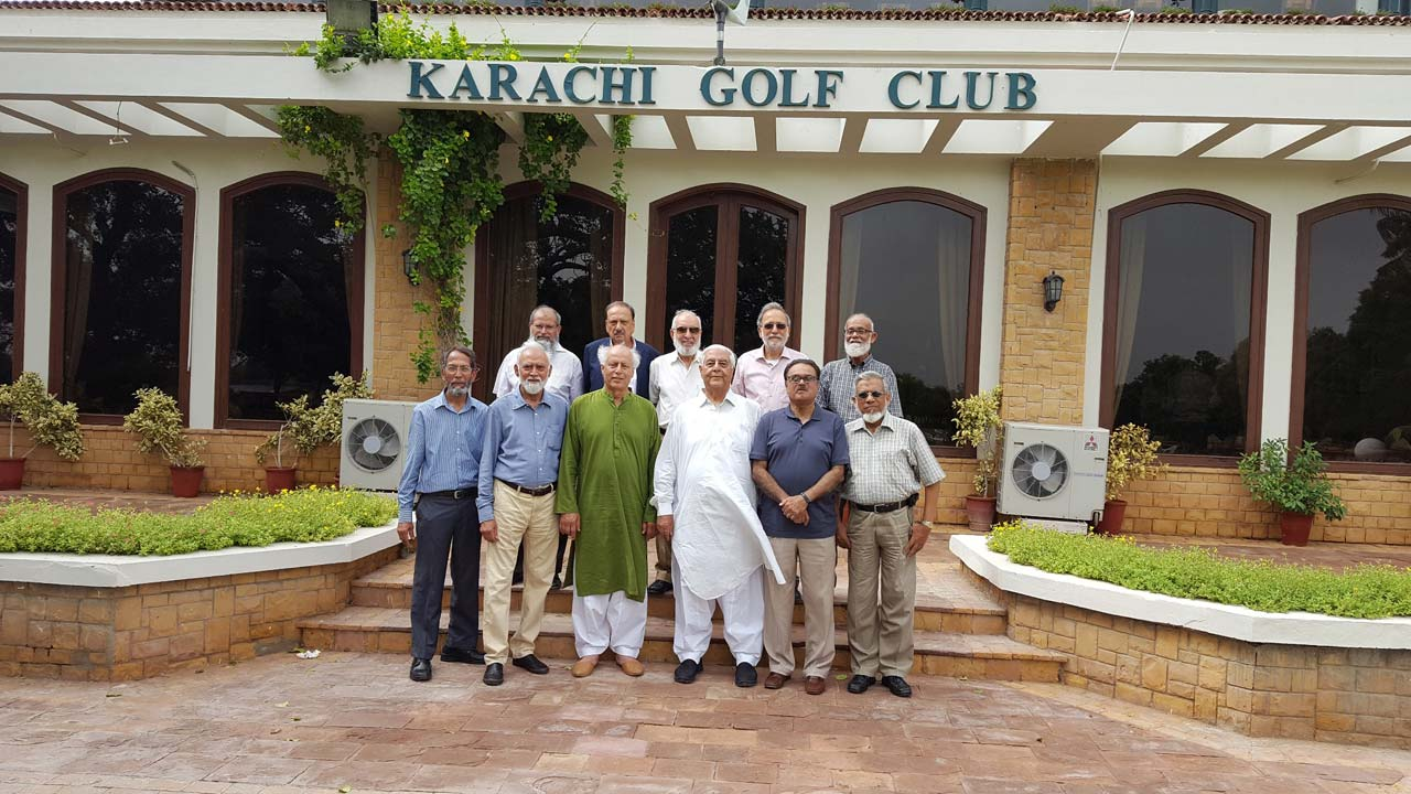 A group of NED69ers outside the dining Hall. From left to right (Front Row): Tariq Said Bukhari, Aqleem Aleem, Shahnawaz Ahmad, Nooruddin Ahmad, Syed Jamsheed Rizvi, Iqbal Ahmed Khan, Back Row, Muhammad Hamid, Omar Vowda, Syed Zafaruddin Ahmad, Najmul Hasnain, Shareef Ur Rehman Malik.