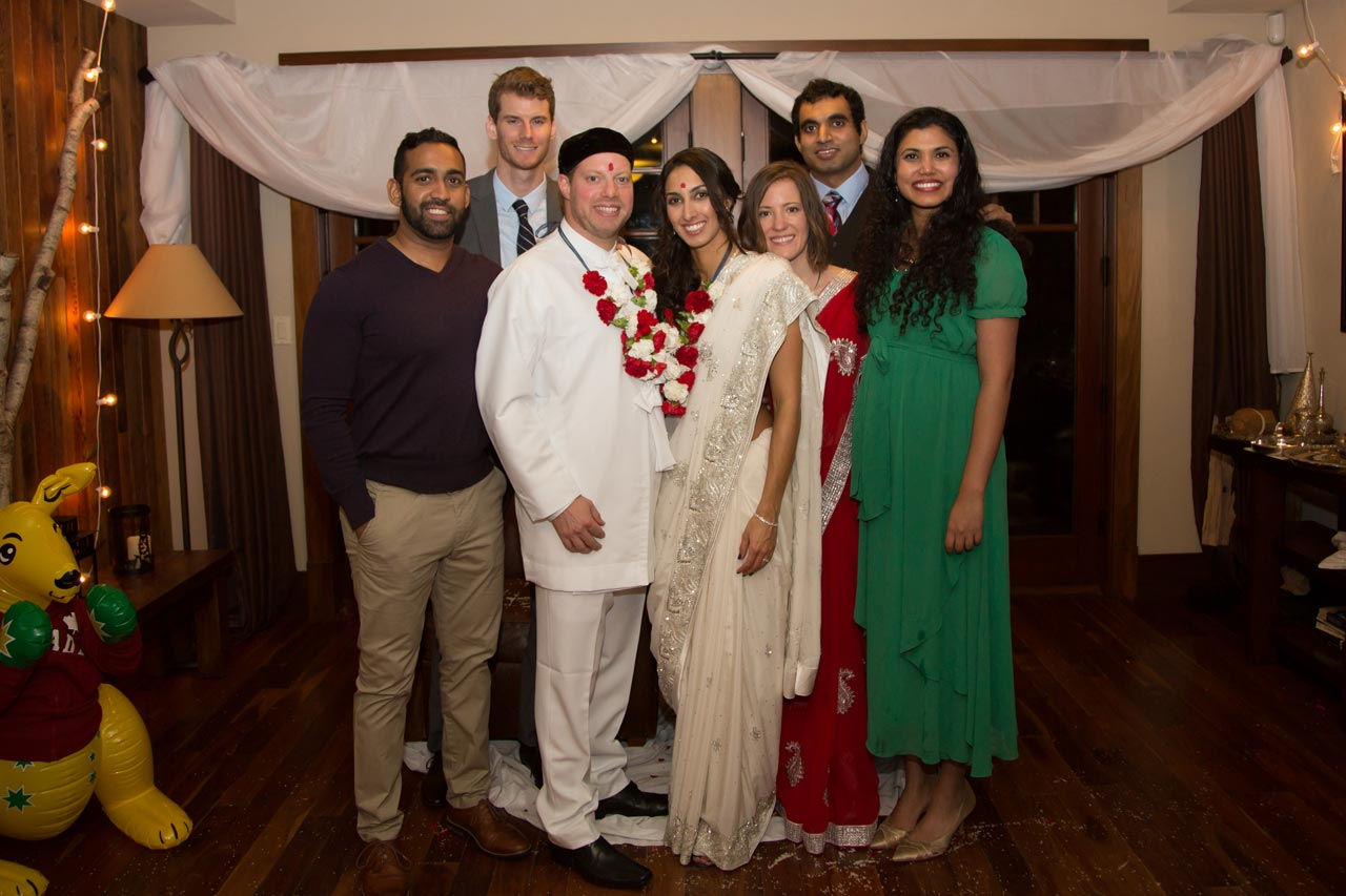 At the cottage: From Left: Ashish Fernandez, Leigh Komperda, Stewart Dean, Navaz Khory, Caitlin Tems, Marc Carvalho, and Maria Carvalho