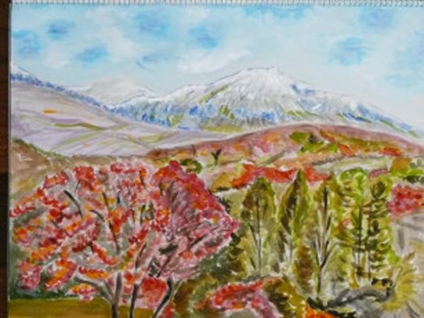 The colored scene of Mt. Hakkouda in late fall.