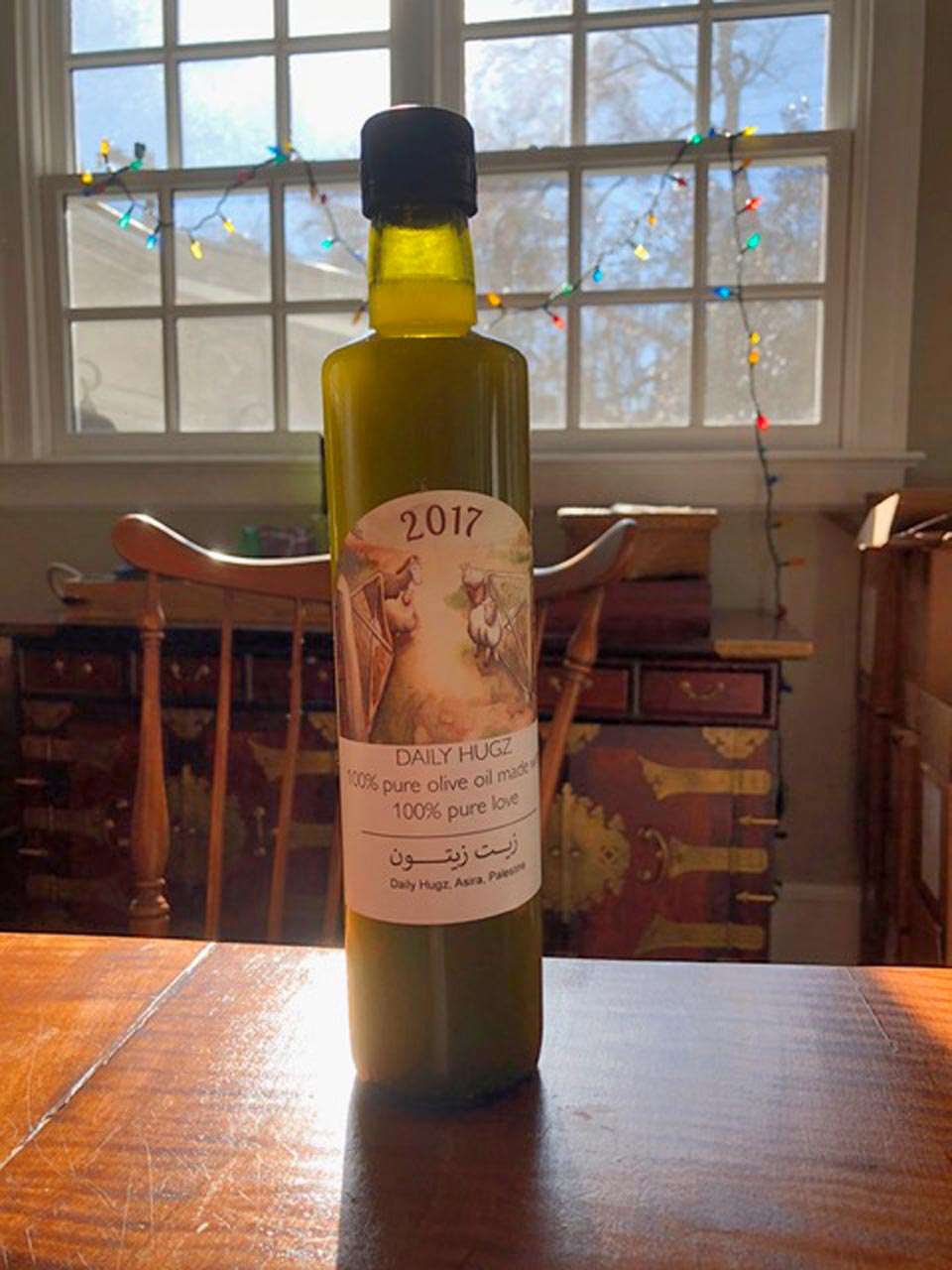 Bottle of Daily Hugz 2017 vintage olive oil