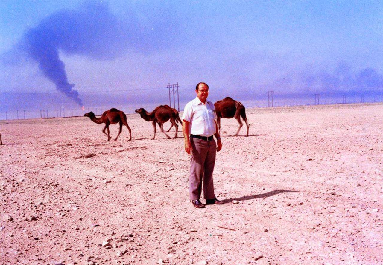 Philip Krebs along Abqaiq Highway in about 1980
