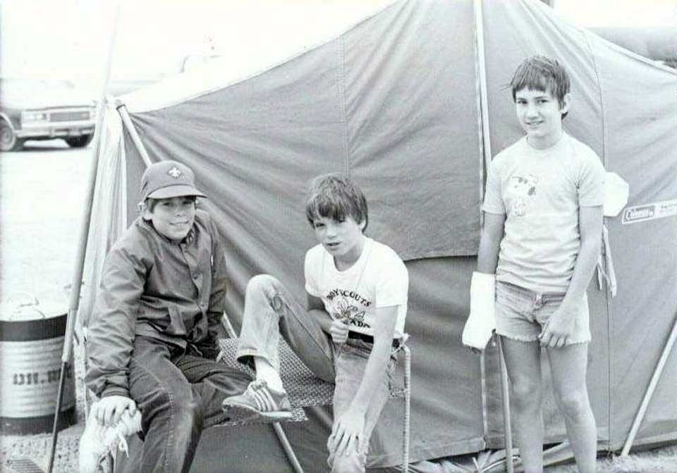 Scouts Tent - Ras Tanura Boy Scouts at a very wet, longterm camp at Half Moon Bay - circa 1983.