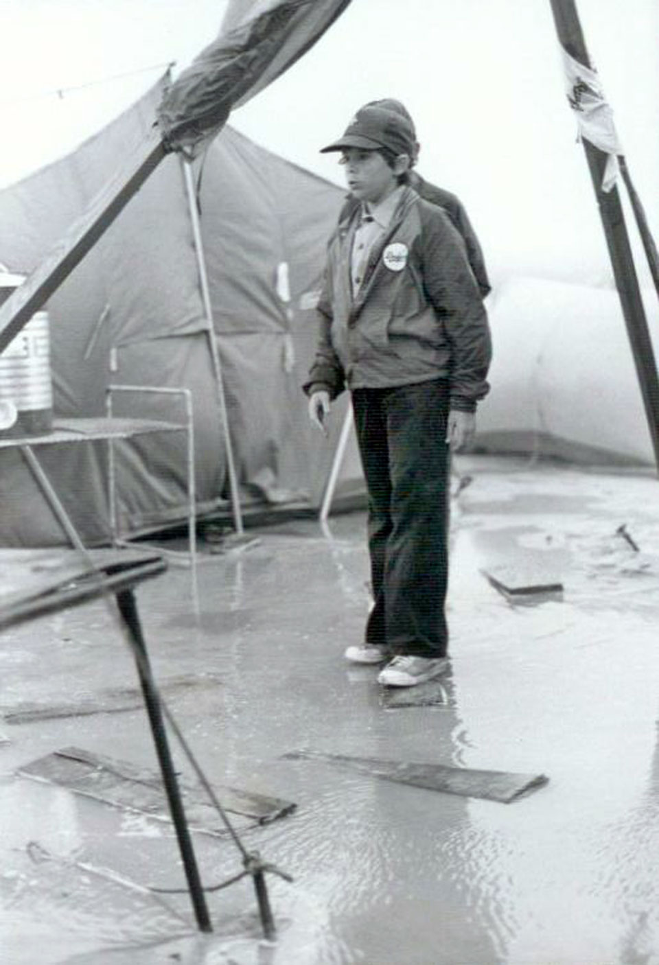 Scouts Wetter - Ras Tanura Boy Scouts at a very wet, longterm camp at Half Moon Bay - circa 1983.