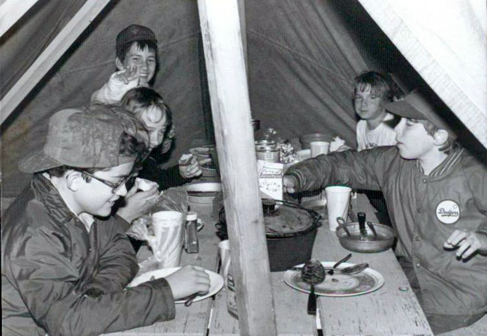 Scouts Eating - Ras Tanura Boy Scouts at a very wet, longterm camp at Half Moon Bay - circa 1983.