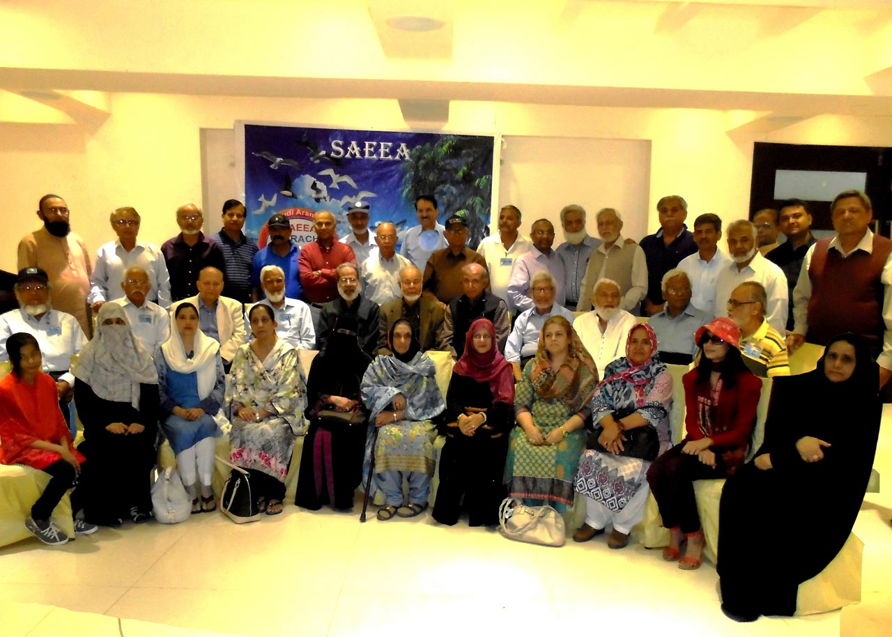 A group photo of SAEEA Members and families at Iqbal Hall