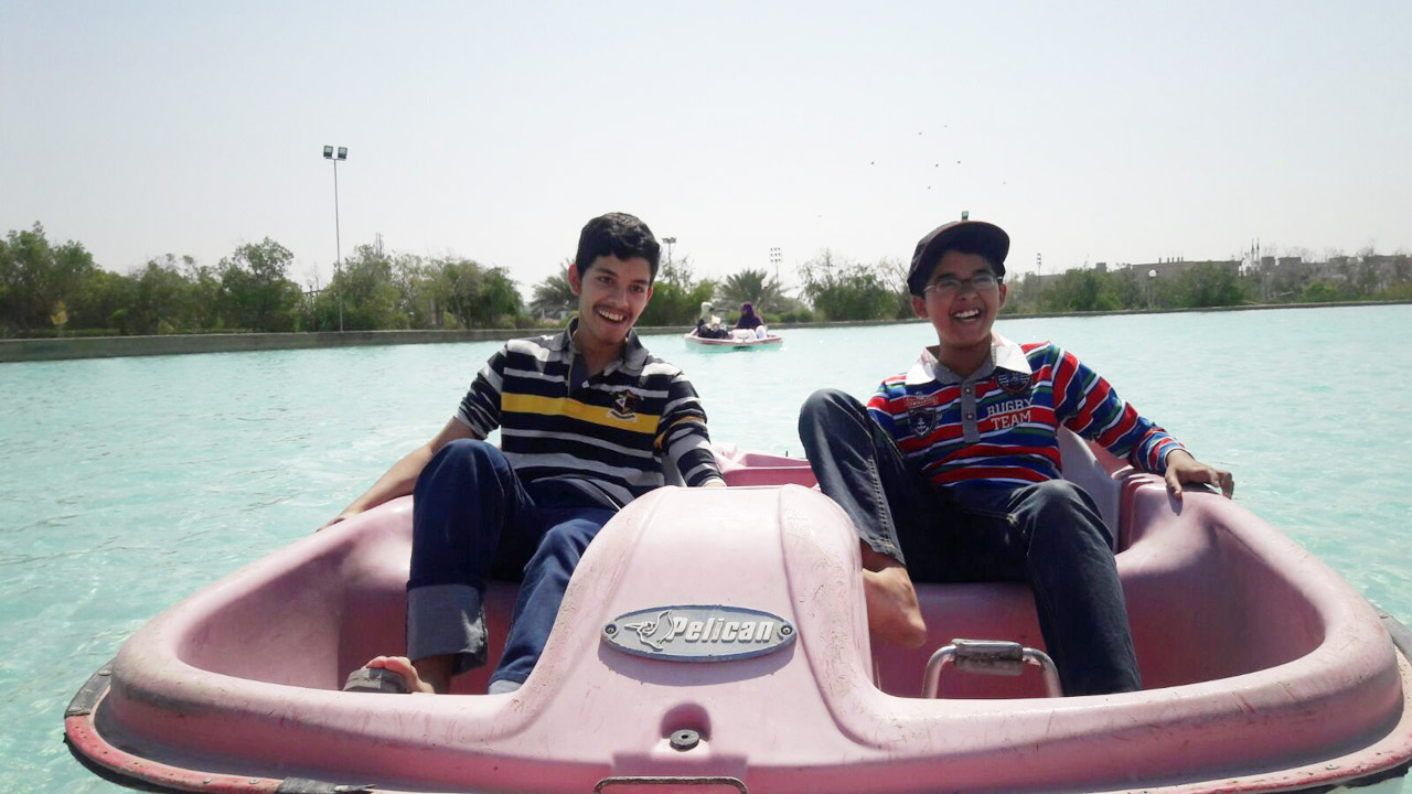 Ubaid and Habib are on the padding boat
