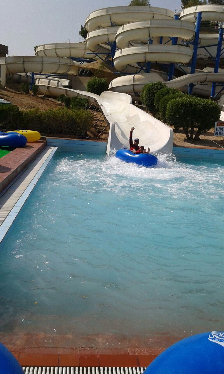 The kids are having fun at the water slides