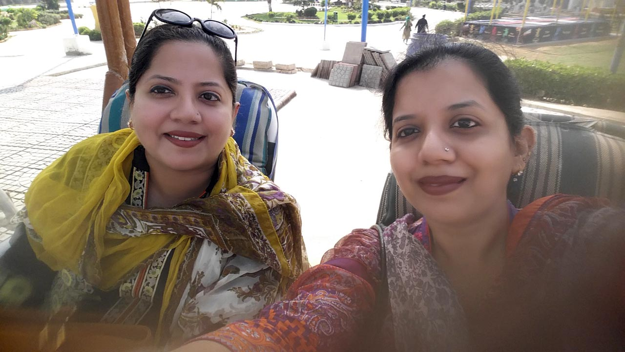 The two sisters: Dr. Kiran A. Rehman and Erum Imran