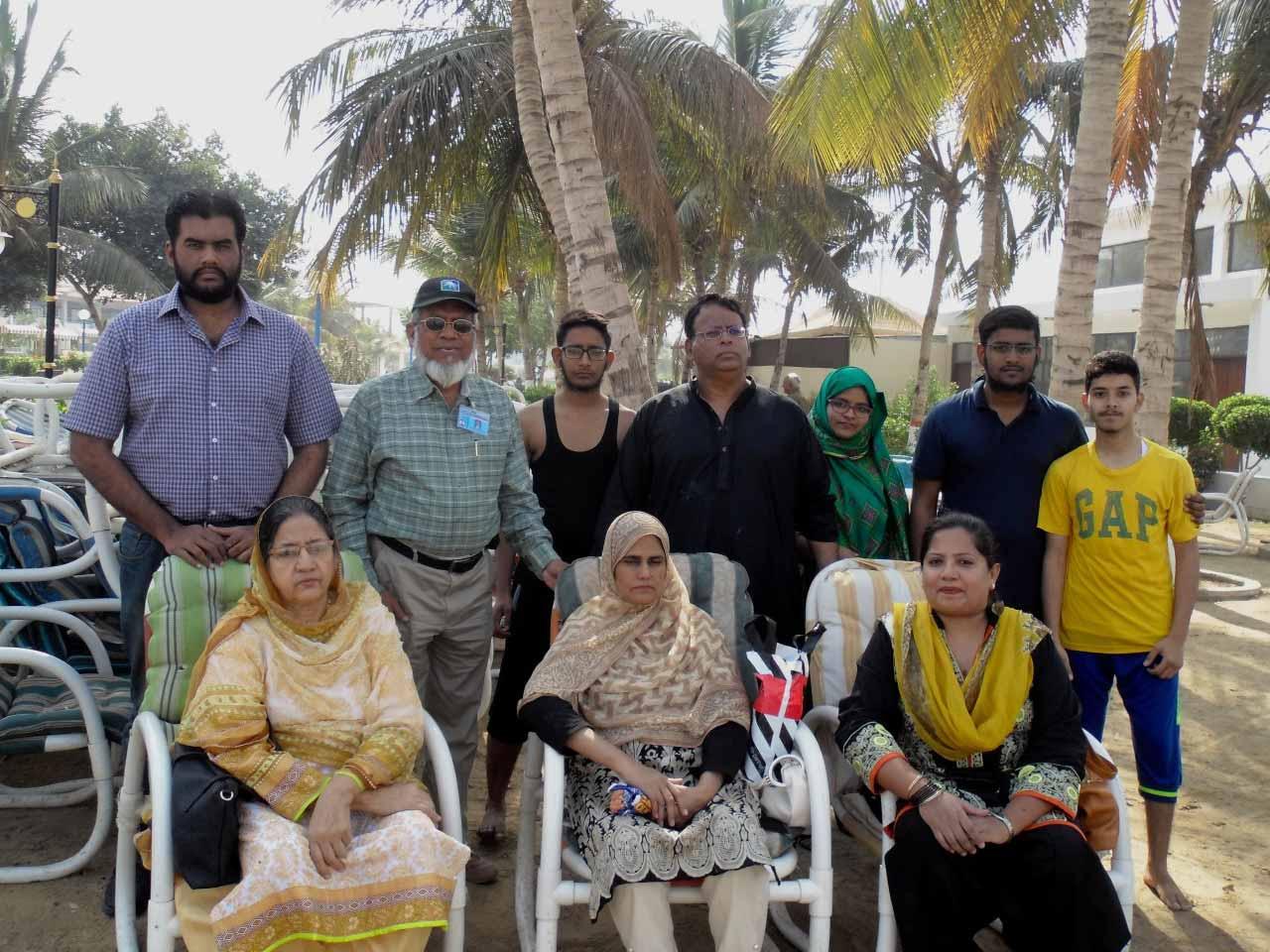 Sitting: Mrs. Zohra Iqbal, Mrs. Rudaba Irshad, Dr. Kiran A. Rehman, Standing: Engr. Bilal Khan, Engr. Iqbal Khan, Zubair, Dr. Ata Ur Rehman, Umaima Bari, Hafiz Anus Bari, Obaid Ur Rehman