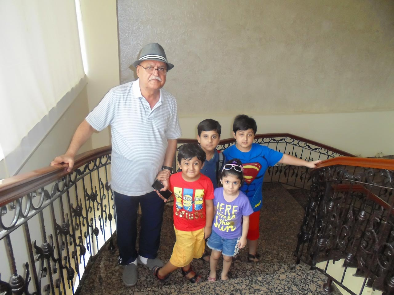 Mahtab Khan with his grand kids