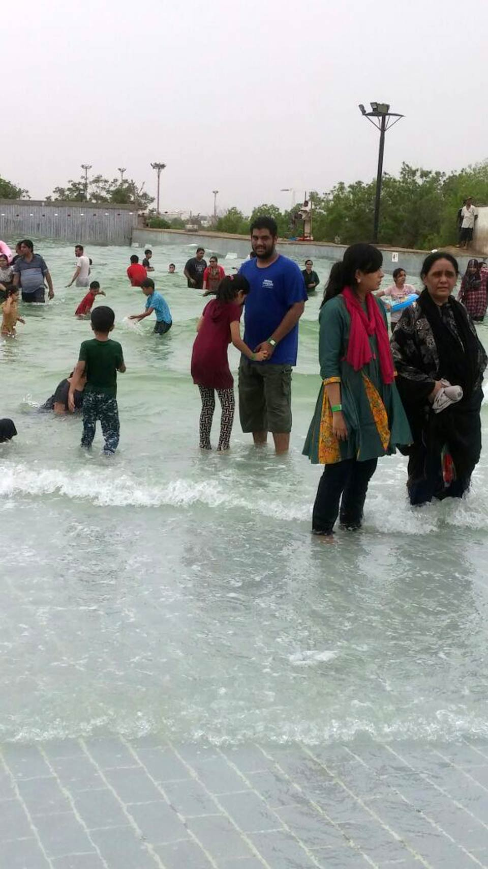 All are enjoying in the artificial wave pool