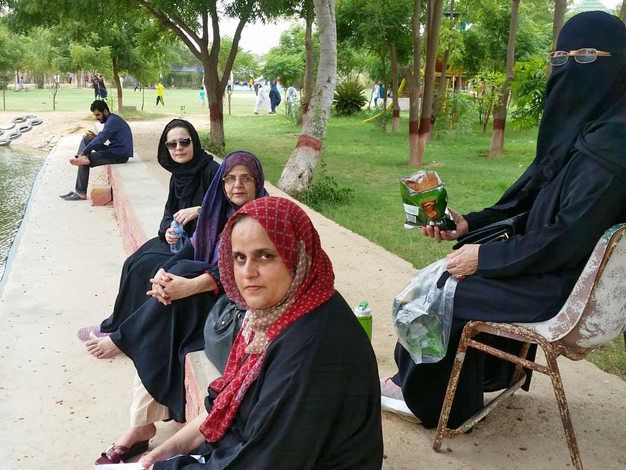 The family members of Mehtab Saeed Khan are enjoying the weather at the Farm House garden