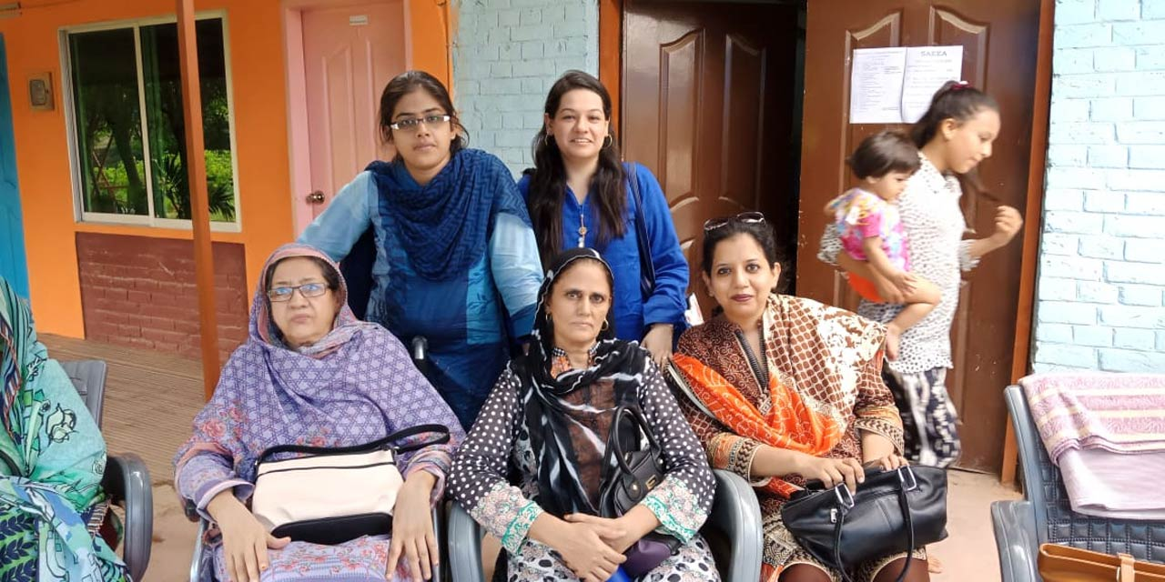 Sitting: Zohra Iqbal, Rudaba Irshad, Erum Imran on the back Bushra Irshad and Faryal B. Khan