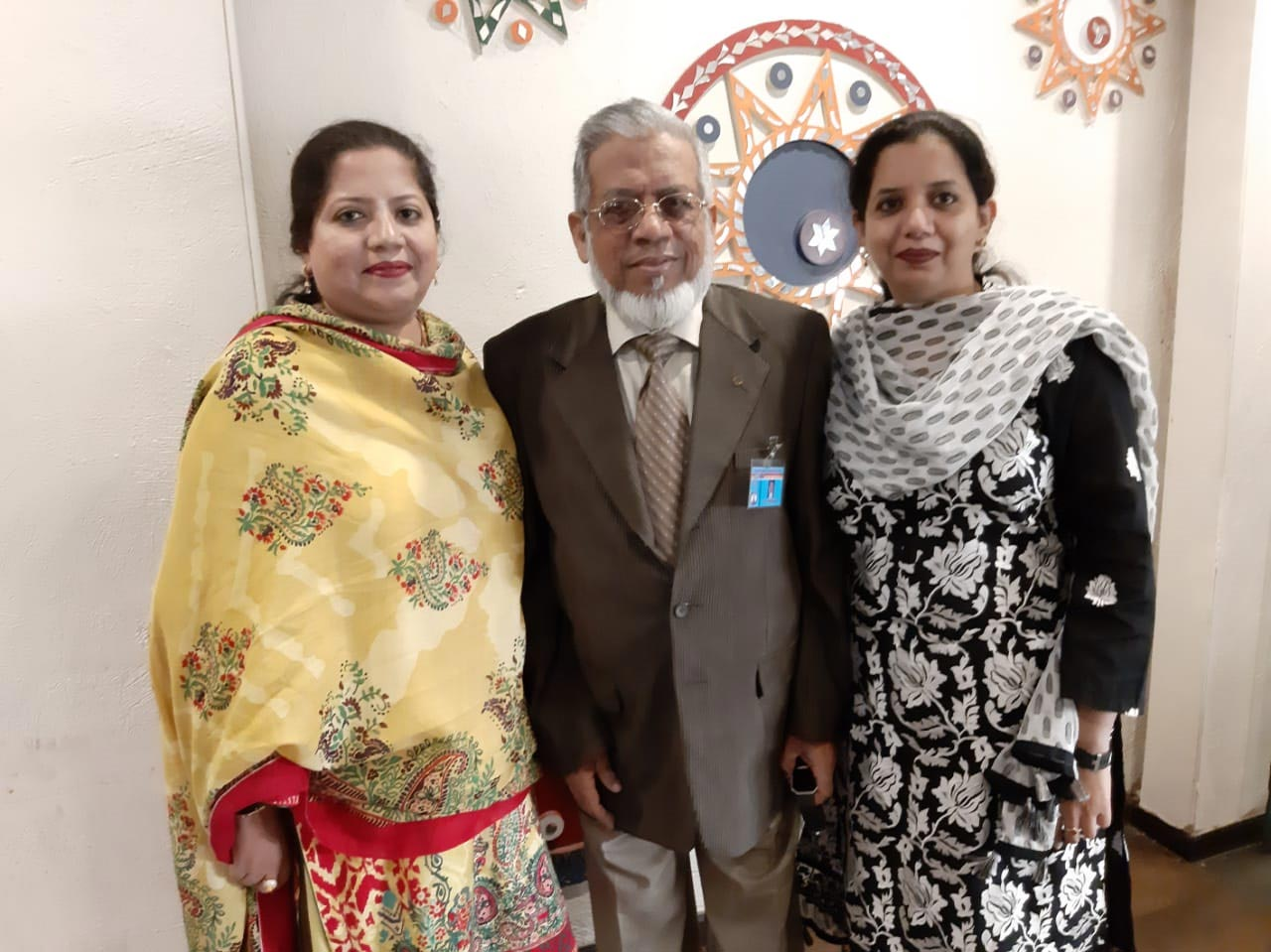 Engr. Iqbal A. Khan with his daughters Dr. Kiran A. Rehman and Erum Imran