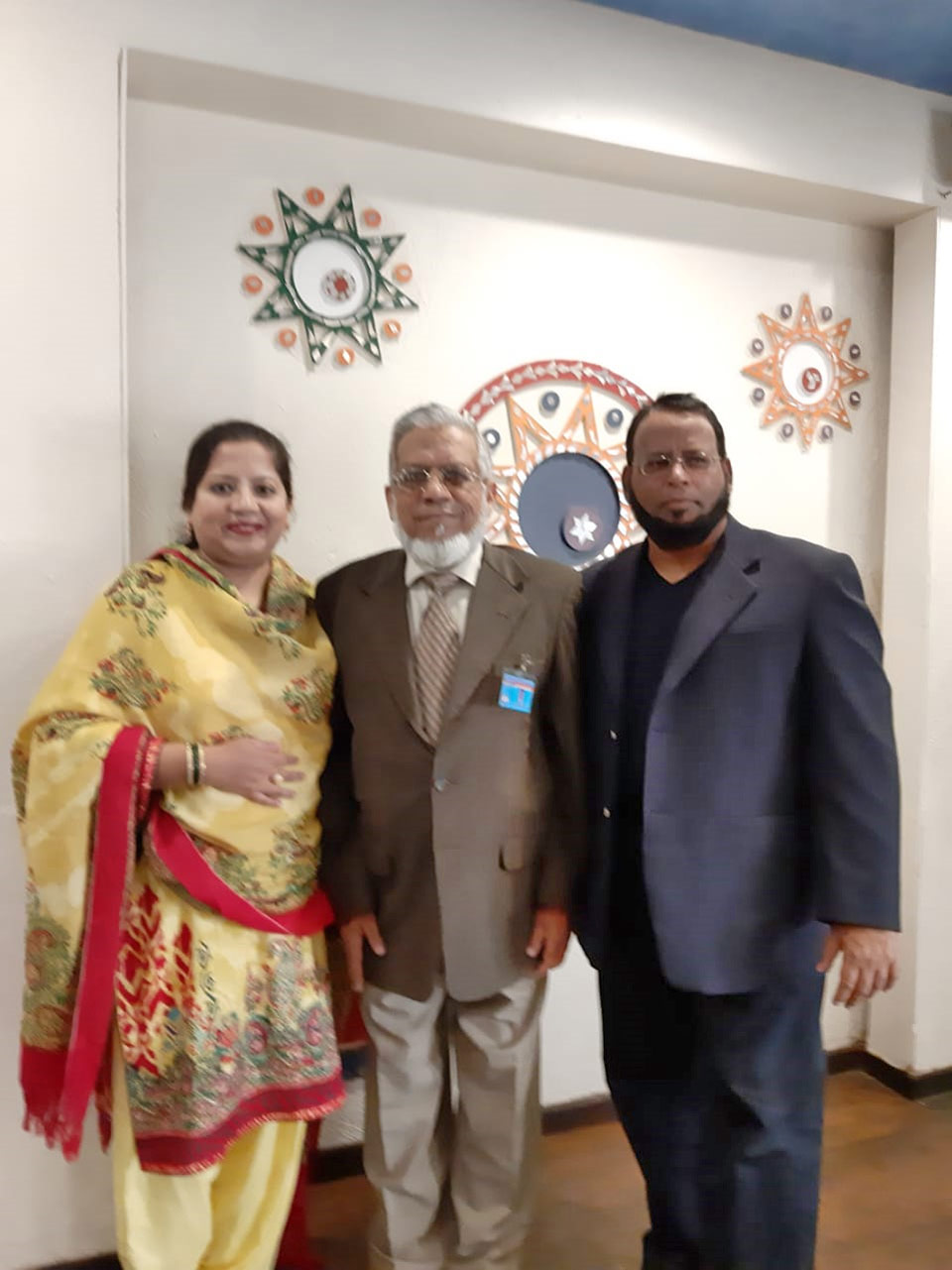 Engr. Iqbal A. Khan with his daughter Dr. Kiran A. Rehman and Son in law Dr. Ata Ur Rehman