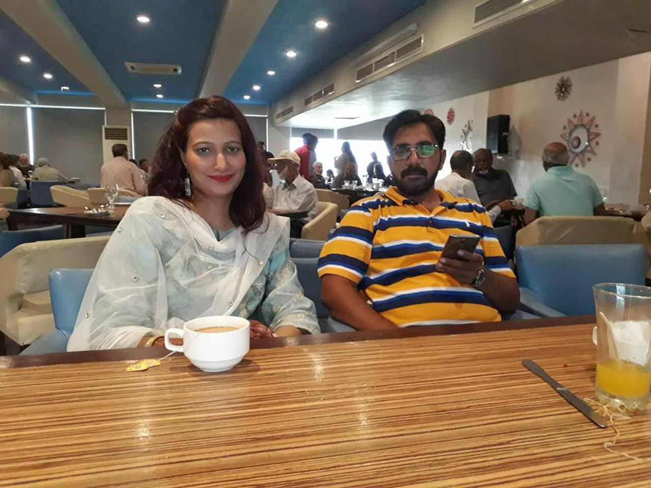 Kamal A. Farooqi's daughter with her husband enjoying the delicious tea at the function