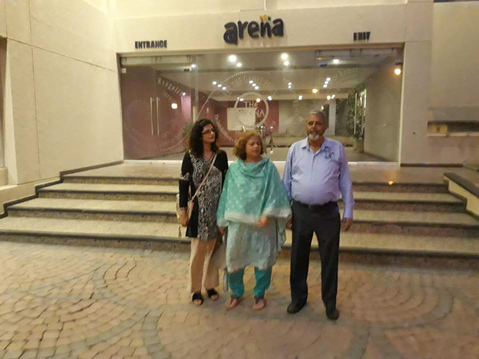 Arif Qamar with his family outside the Arena Club