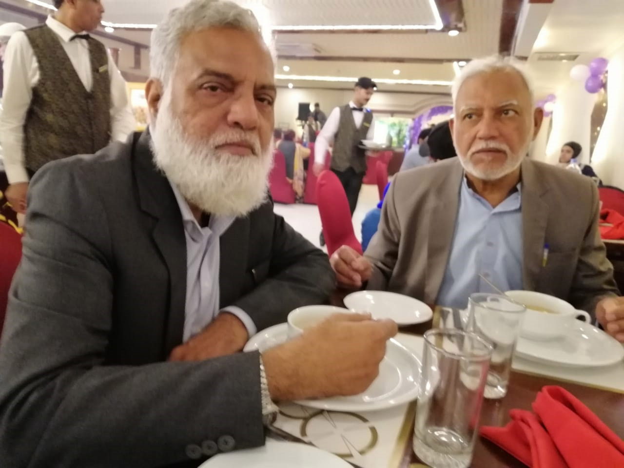 Jamiluddin Shaikh and Shabbar Hassan Abidi enjoying their brunch in the dinning hall