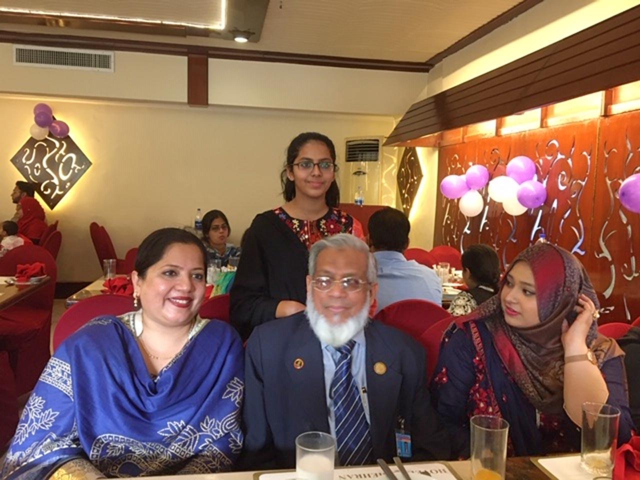 Dr. Kiran A. Rehman, Engr. Iqbal Ahmed Khan, Samia Siddiqui and Mariam A. Rehman standing